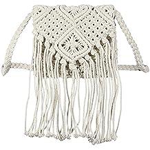 Woopower Bolsas de Hombro con Flecos de Crochet para Mujer, con borlas y Bandolera,