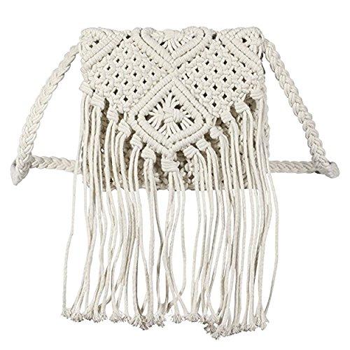 Woopower Frauen Crochet Fringed Messenger Taschen Quasten Kreuz Beach Bohemian Quaste Schultertasche, Weiß -