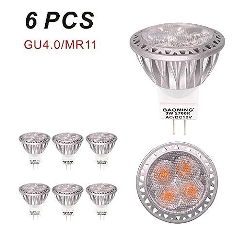 BAOMING GU4 MR11 35mm Durchmesser 3Watt,AC/DC 12V LED Lampe 35W Gluhlampe 250lm Warmweiße Farbtemperatur 2700K LED Leuchtmittel ersetzt 35 Watt Halogen Punktbeleuchtung 6er Pack