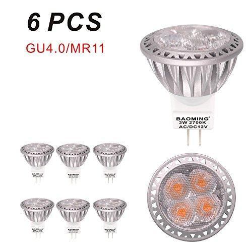 Baoming MR11GU4ampoules LED 35W Ampoule halogène équivalent 12V DC/AC 3W 250lm 30° Angle de faisceau Blanc chaud 2700K ampoules LED Lot de 6unités
