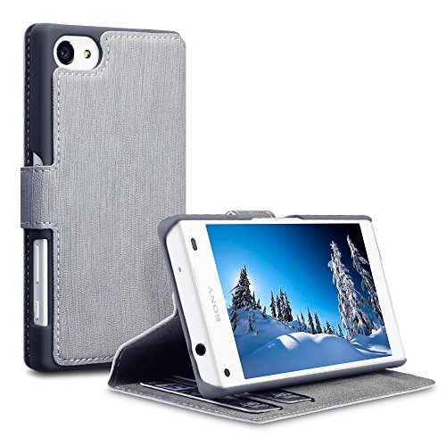 Sony Xperia Z5 Compact Cover, Terrapin Leder Tasche Case Hülle im Bookstyle mit Standfunktion Kartenfächer für Sony Xperia Z5 Compact Hülle Grau