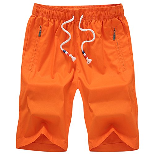 Honeystore Herren Shorts Casual Bermuda Baumwolle Sommer Sport Hose in 12 Farben Orange 4XL (Animal Volcom)