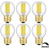 TAMAYKIM G50 6W Regulable Antiguo de Edison Estilo Bombilla Filamento LED,3000K Blanco Cálido 600 Lúmenes,6 Watts Consume Equivalente 60W,Casquillo E27 Forma Globo Brillo Ajustable Pack de 6