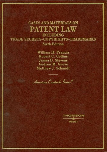 Cases and Materials on Patent Law, Including Trade Secrets, Copyrights, Trademarks PDF Books