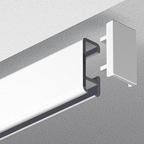 Garduna 360cm Bilderschiene Galerieschiene Schleuderschiene, Aluminium, weiss, glatte, glänzende Oberfläche, 1-läufig (2 x 180cm inkl. Verbinder)
