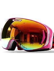 Nenki nk-1006gafas de esquí para hombres mujeres con antivaho y 100% de protección UV lente nieve Snowboard, rosa