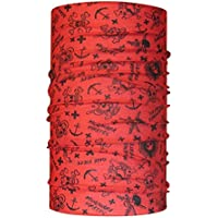 Braga para el cuello de HeadLOOP, modelo para niño, pañuelo de microfibra multifunción, diseño de calaveras, color rojo