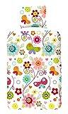 "Home & Style 3920-A Bettdeckenbezug, Motiv ""Happy"", 100% Baumwolle, 140 x 200/220 cm, mehrfarbig"
