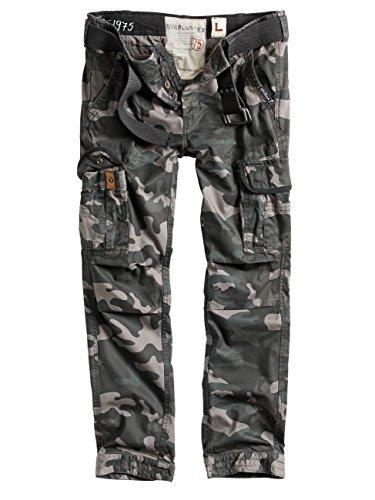 Surplus Herren Vintage Straight Fit Cargohose Premium Slimmy (M, camouflage schwarz) - Surplus Bdu Hose