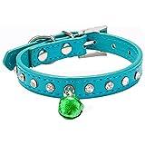 Ularma Collar de perro, Lindo collar para mascotas con cristal Bling y pequeña campana (S, azul)