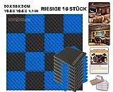 ACE Punch 16 Stück SCHWARZ UND BLAU Eierkarton Gewellter Noppenschaumstoff Akustikschaumstoff DIY Entwurf Mit Freiem Klebestreifen 50 x 50 x 3 cm AP1052
