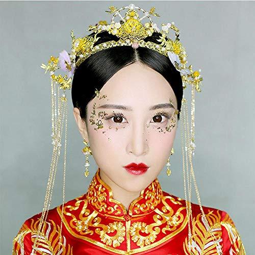 Littlefairy Braut Haarschmuck,Chinesische Braut Kostüm Coronet Su Gold Haar Ornament Hochzeit Set