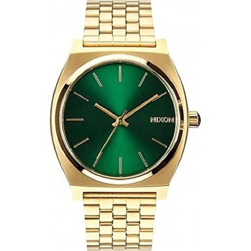 nixon-mens-quartz-watch-time-teller-green-sunray-a0451919-00-with-leather-strap