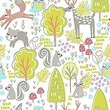 "Woodland Animals Nursery Cotton Fabric - Width Approx 112cm/44"" (Metre)"