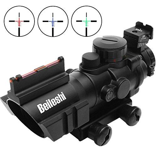 Beileshi Zielfernrohr 4x32mm Leuchtpunktvisier mit Fiberoptic Red Green Dot Visier Zielgerät -