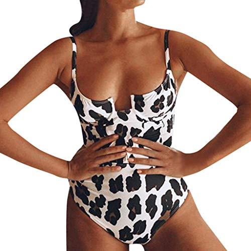 Badeanzug Leopard Damen Blumen Rückenfrei Badeanzüge Bauchweg Einteiler Figurformend Bademode Push Up One Piece schwimmhilfe Bodysuit (S, Beige)