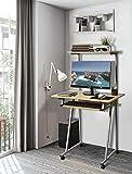 Aingoo Mini Home Computertisch mit Lagerregal Büroarbeitsplatz Arbeitstisch Computertischtisch PC-Tisch Eiche (Schreibtisch)