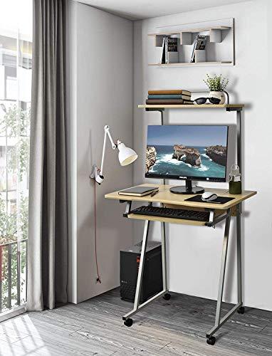 Aingoo Escritorio de la computadora móvil Escritorio de mesa de escritura Estación de trabajo pequeña con estante para impresora y espacio en el teclado Beige