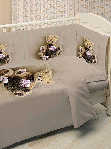 Ipersan funny bear fine-art set 5 pezzi copripiumino fotografico per lettino, piazzato, cotone, beige