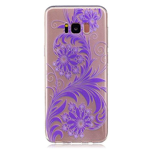 Samsung Galaxy S8 Plus Hülle Case, Cozy Hut® [Flower Series] Ultra Dünn [Crystal Case] Transparent Soft-Flex Handyhülle / Bumper-Style Premium-TPU Silikon / Perfekte Passform / Kratzfest Schutzhülle für Samsung Galaxy S8 Plus Case, Samsung Galaxy S8 Plus Cover, Galaxy S8 Plus Case, Galaxy S8 Plus Cover, S8 Plus Case, S8 Plus Cover - Purpurrote Blume