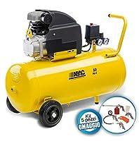 Capacità serbatoio 50 litri Potenza 2 hp Pressione massima 8 bar Aria aspirata 190 litri/minuto Alimentazione 230 V - 50 Hz - monofase Peso 32 kg kit da 5 pezzi Codice articolo 1129100006