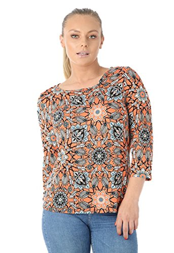 Ladies Ex Marks & Spencer Floral Print Round Neck Long Sleeve T-Shirt