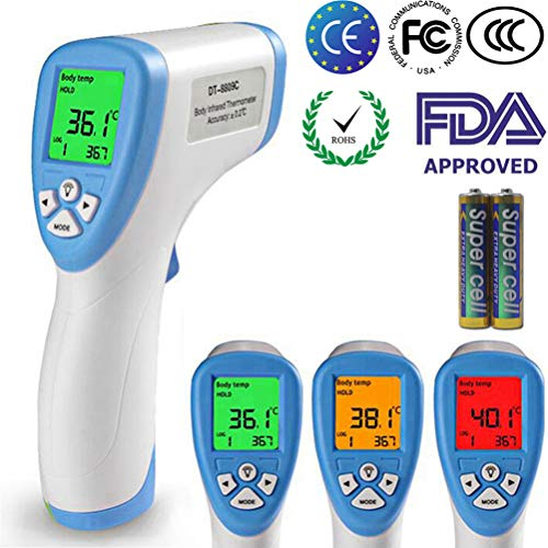 KETOTEK Digital Fieberthermometer Baby Erwachsenen Ohrthermometer Digitales Infrarot Thermometer Stirnthermometer Ohrthermometer Digital Medizinisches Fieberwarnung Kinder Fieber Thermometer (Blau)