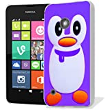 coque housse etui case cover pour nokia lumia 530 - purple penguin