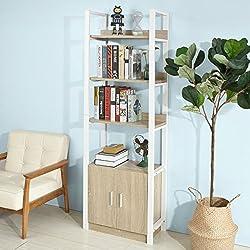 SoBuy® Estanteriá en escalera ,Librería , 4 áreas y dos puertas de almacenamiento,FRG199-N,ES