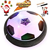 Betheaces Toys, Air Power Soccer Disc Glide Base Ball Game Training Indoor Outdoor Fun Toys with Soft Foam Bumpers and LED Lights Perfect Football Gifts for Kids Teens