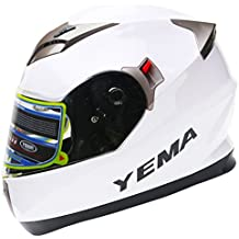 YEMA Helmet YM-829 Casco Integrales con Doble Visera-Blanco-M