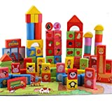Wooden Building Blocks Set Builders Kids Educational Stacking Toys Gift for Toddlers Preschool Age