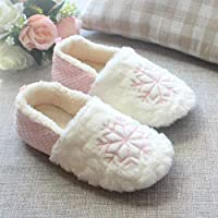 ENLAZY Christmas Sweet Snowflake Breathable Cotton Slippers Winter Warm Slip On Scuff Clogs Indoor Outdoor Scuff Memory Foam Slip On Anti-Skid Sole