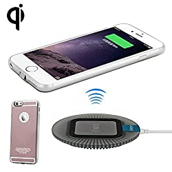 Antye Qi Wireless Charger for iPhone 6 Plus & 6S Plus, Including Qi Wireless Receiver Case and Wireless Charging Dock, Rose Gold/Black