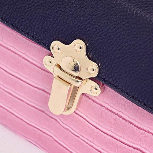 FZHLY Nuovo Modello Di Pietra Piccola Piazza Borsa Europa E La Spalla Stati Uniti Blocco Moda Buckle Bag,Brown Pink