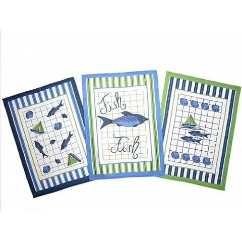 Il set di 4 pezzi. Asciugapiatti con il motivo Pesce, misura 50 x 70 cm, cotone