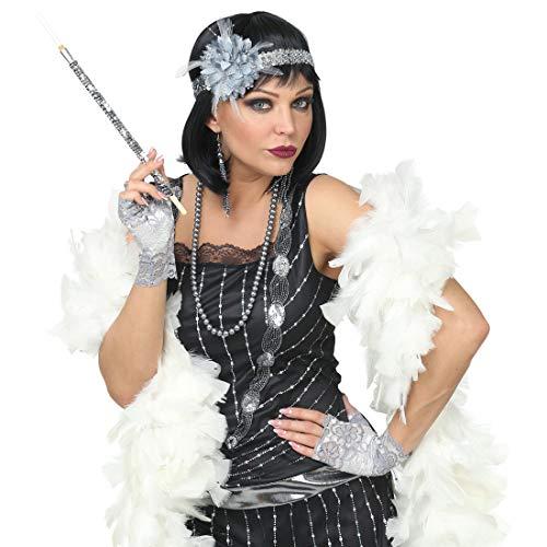 NET TOYS Stilechtes Charleston Kostüm-Set | Grau-Silber | Außergewöhnliche Damen-Accessoires mit Stirnband, Ohrringen, Halskette & Handschuhen | Passend gekleidet für Mottoparty & 20er Party