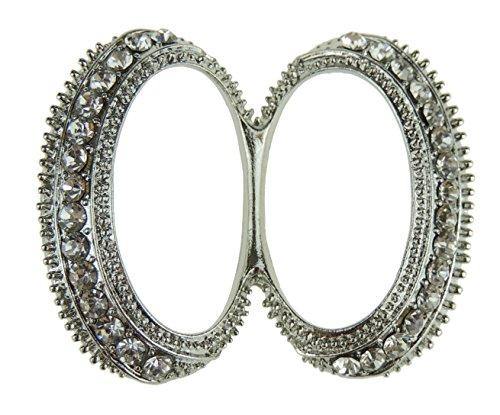 Damen mit Vintage Look Doppel Oval Schal Ring Halter Schnalle Knoten Gr. Einheitsgröße, silber