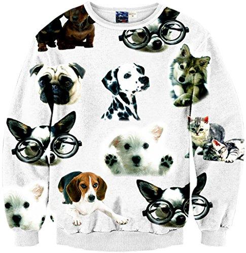 Pizoff Unisex Hip Hop Sweatshirts mit 3D Digital Print 3D Muster hund dog cat katzen Y1759-67-S (Neue Schwarze T-shirt Hund Tee)