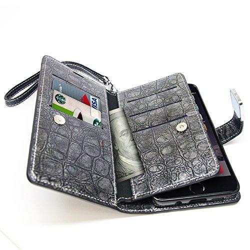 Case iPhone 7, Arium [CDiary] Prime Wallet [Noir] [TPU Bumper] PU Crocodile Cover en cuir avec dragonne [Protection Goutte] pour Apple iPhone 7 Sapphire Diary - gris foncé