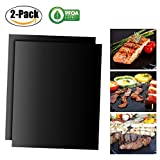 Chickwin Grill Mat , 2PC Non Stick PTFE Oven Liner Cooking Mats Perfect for Baking on Gas Charcoal Oven and Electric Grill Reusable and Easy to Clean Barbecue Mat (2PC)