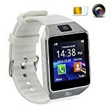 Smartwatch con Bluetooth Orologio Telefono Intelligente 1.56' TFT HD LCD Touch Screen Orologio Digitale del Polso Orologio Cellulare Fotocamera Lettore Audio Antifurto Sveglia Sim Card per Bambini Uomo Donne Andriod IOS Huawei Samsung Bianco DZ09