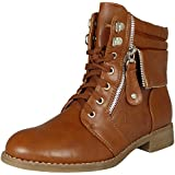 WOMENS LADIES COMBAT MILITARY ARMY LOW HEEL FLAT LACE UP ANKLE BOOTS SHOES SIZE 3-8