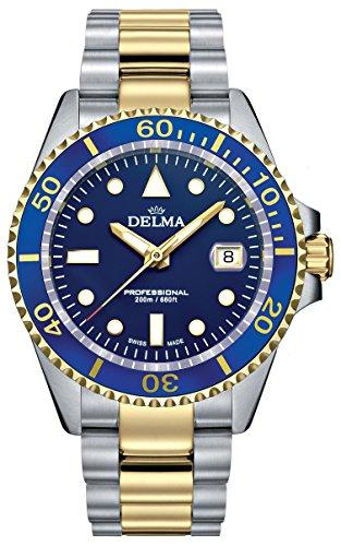 Delma Herrenuhr Quarz, Bicolor mit Edelstahl Armband blau 407065