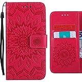 Cover Huawei Honor 6C (Enjoy 6s, Nova Smart) Custodia, Ougger Fiori che Sbocciano Portafoglio PU Pelle Magnetico Morbido Silicone Flip Cover Bumper Protettivo Gomma Shell Borsa Custodie con Porta Schede (Rosso)