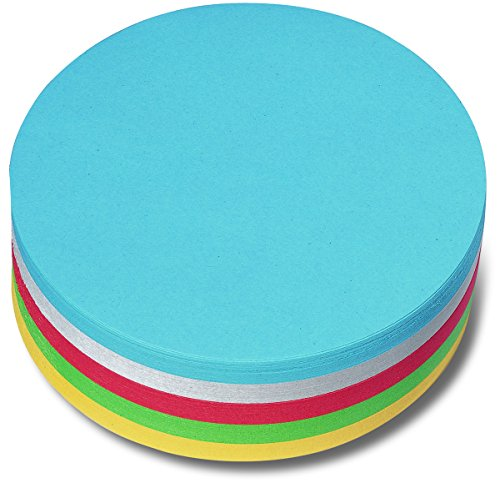Nobo 1901305 Moderationskarte (Kreis, 14 cm, sortiert, 250 Stück) weiß/gelb/rot/grün/blau