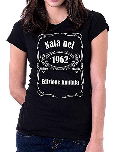 Tshirt compleanno Nata nel 1962 - edizione limitata - vintage quality - idea regalo - eventi - - Tutte le taglie Nero