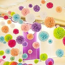 sannix 10pcs Multicolor tejido DIY bola de papel pompones, flor de papel para colgar decoración para boda, cumpleaños, BACHELORETTE, interior, Al aire libre, papel, azul celeste, 10 cm