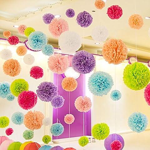 Sannix 10pcs Multicolore Soie à suspendre à pompons en papier,