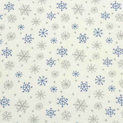 Jersey Stoff 100% Baumwolle 165 cm Breit (100 x 165 cm, Schneeflocken Blau Grau)
